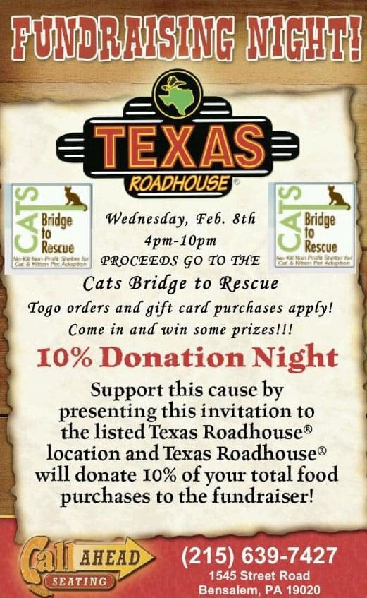 CBTR Fundraiser Texas Roadhouse